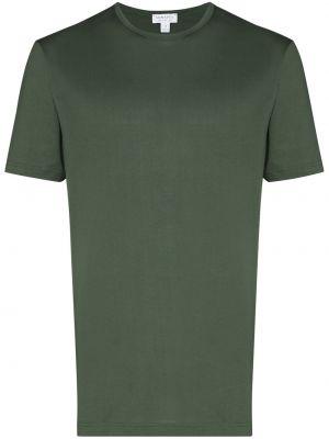 Прямая хлопковая зеленая базовая футболка Sunspel