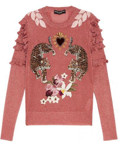 Розовый джемпер леопардовый Dolce&gabbana