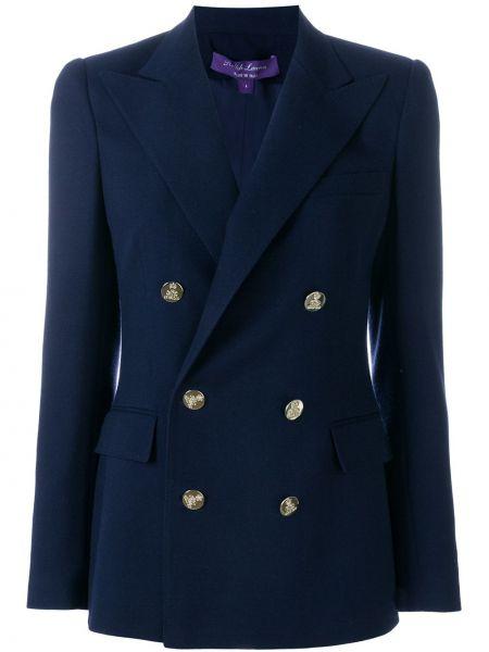 Приталенный синий пиджак двубортный Ralph Lauren Collection