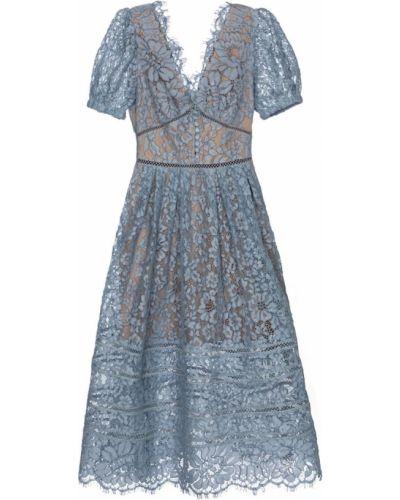 Гипюровое кружевное синее вечернее платье Self-portrait