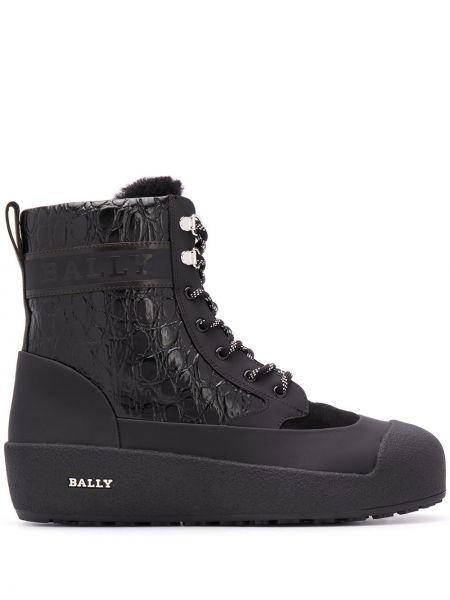 Черные кожаные ботинки на шнуровке Bally