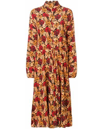 Платье миди с цветочным принтом бежевое Prada