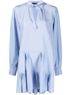 Шелковое синее платье макси с бантом Rochas