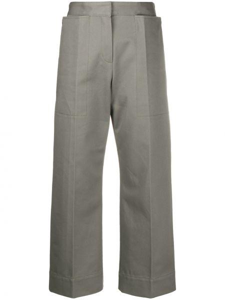 Bawełna spodni zielony przycięte spodnie z paskiem Jacquemus
