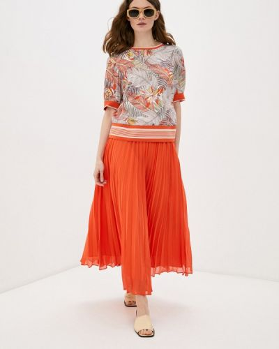 Костюмный оранжевый юбочный костюм Franco Vello