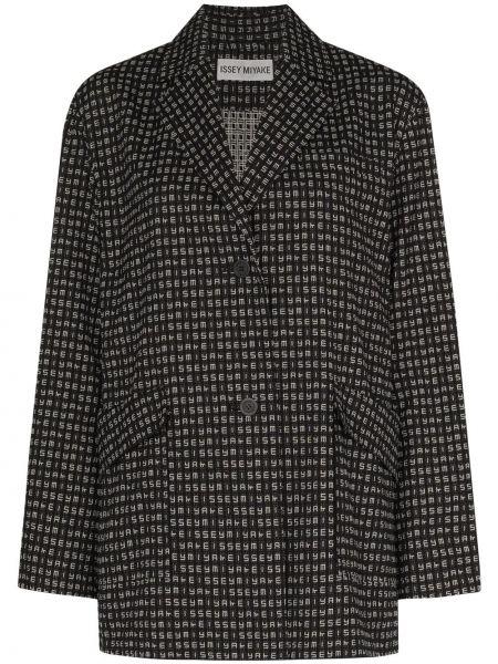 Однобортный черный удлиненный пиджак с накладными карманами Issey Miyake
