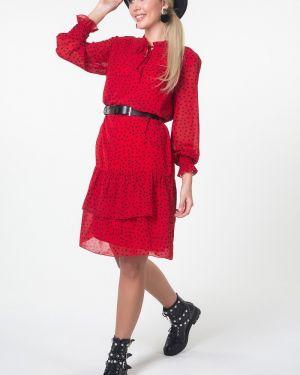 Платье с поясом в горошек шифоновое Valentina