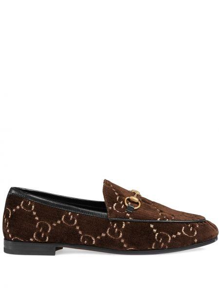 Кожаные лоферы - коричневые Gucci