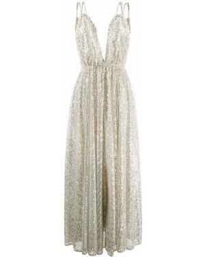 Серебряное платье с пайетками с V-образным вырезом эластичное Amen.