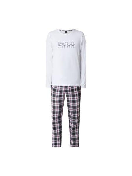 Biała spodni piżama bawełniana z długimi rękawami Boss