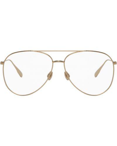 Кожаные очки авиаторы золотые прозрачные Dior