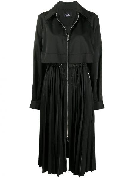 Z rękawami czarny długi płaszcz z kołnierzem zapinane na guziki Karl Lagerfeld