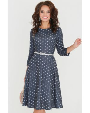 Джинсовое платье в горошек с поясом Dstrend
