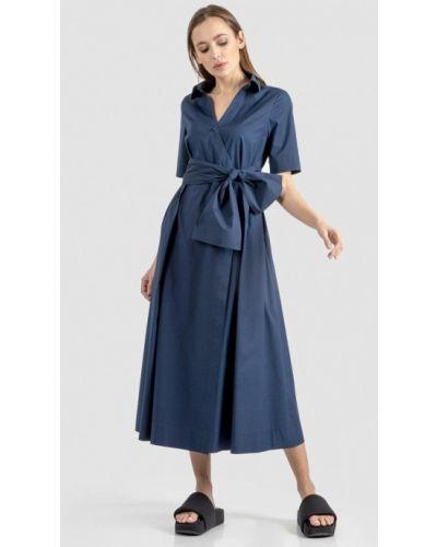 Синее платье-рубашка энсо