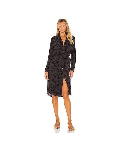 Шелковое серое платье с карманами с завязками Rails