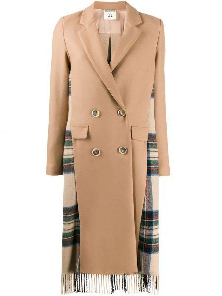 Шерстяное длинное пальто с капюшоном Semicouture