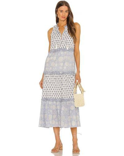 Niebieska sukienka długa bawełniana z printem Cleobella