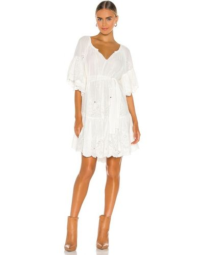 Biała sukienka długa z falbanami skórzana Spell & The Gypsy Collective