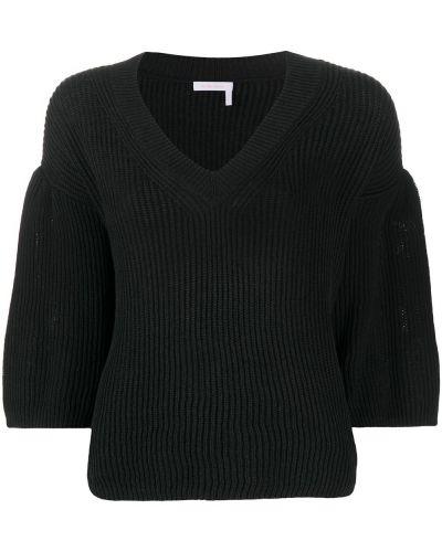 Расклешенный хлопковый черный джемпер с V-образным вырезом See By Chloé