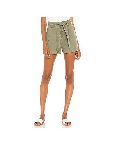 Хлопковые зеленые шорты на крючках David Lerner