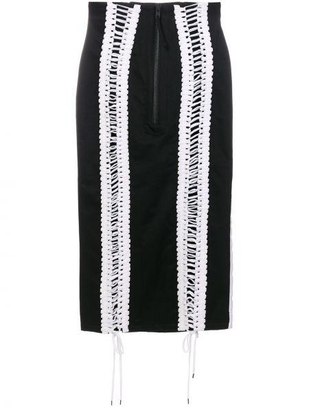 Хлопковая черная юбка на шнуровке Ktz