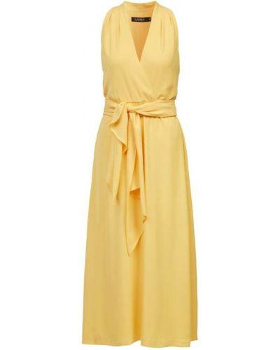 Żółta sukienka wieczorowa z paskiem bez rękawów Lauren Ralph Lauren