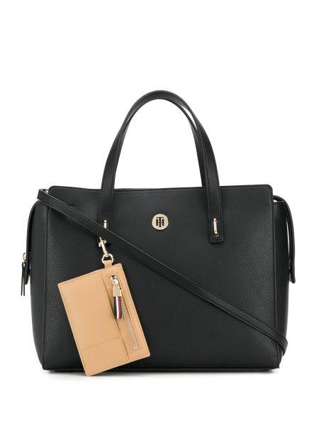Черная сумка на плечо круглая металлическая на молнии Tommy Hilfiger