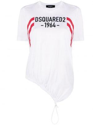 Хлопковая белая футболка с вырезом Dsquared2