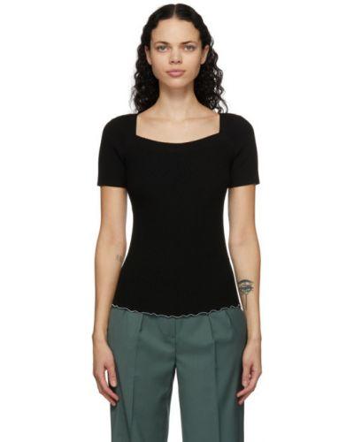 Шерстяная с рукавами черная рубашка с воротником 3.1 Phillip Lim