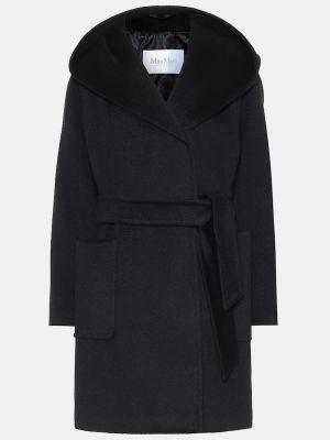 Шерстяное черное пальто с поясом Max Mara