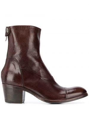 Коричневые ботинки на каблуке на каблуке круглые на молнии Alberto Fasciani