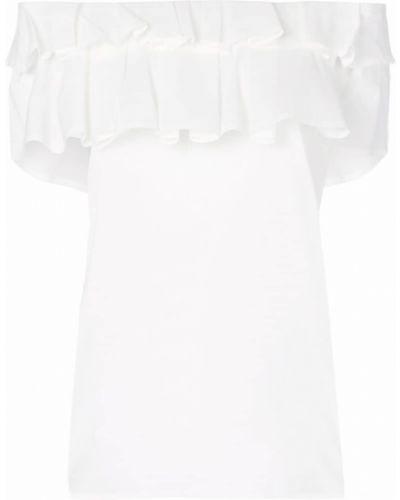 Белая хлопковая футболка с открытыми плечами Blumarine