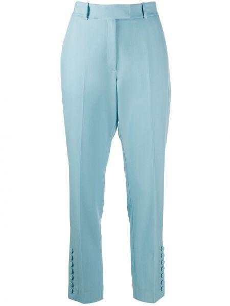 Niebieskie spodnie wełniane z paskiem Racil