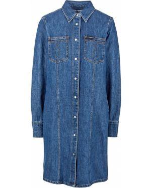 Джинсовое платье платье-рубашка синее Calvin Klein Jeans