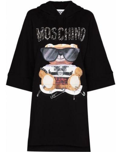 Черное платье с принтом Moschino
