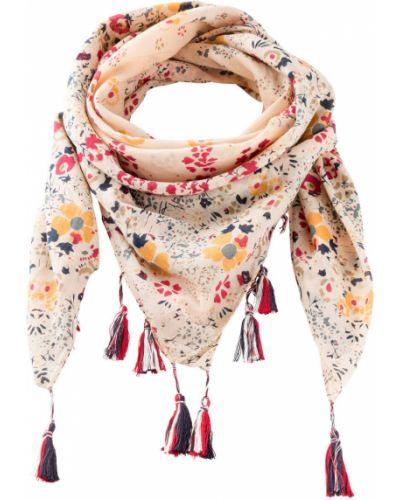 Бежевый платок с кисточками в цветочный принт Bonprix