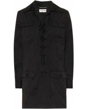 Хлопковое платье мини - черное Saint Laurent