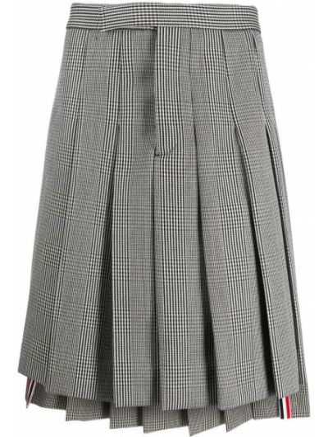 Spodni wełniany pofałdowany czarny spódnica plisowana Thom Browne