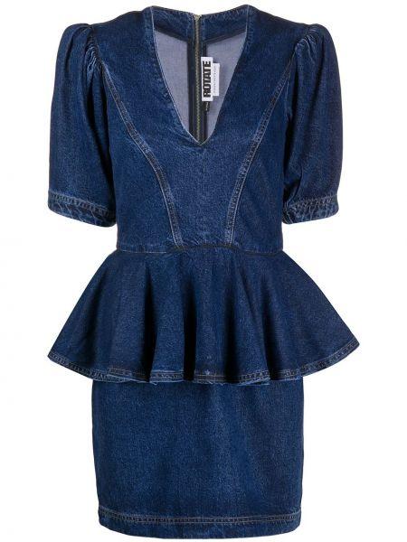 Платье с V-образным вырезом синее Rotate
