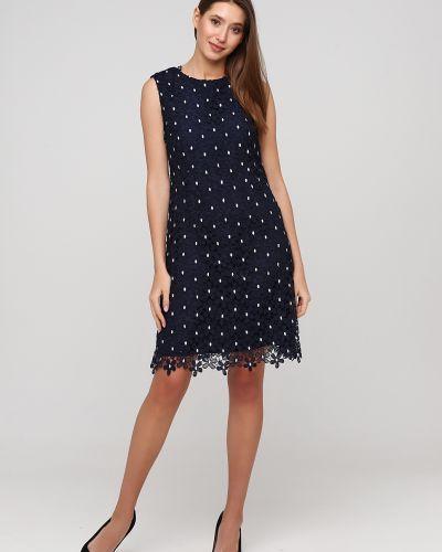 Ажурное синее вечернее платье без рукавов Apart