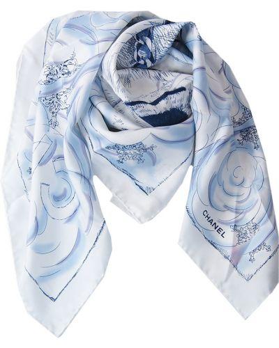 Платок из шелка белый Chanel