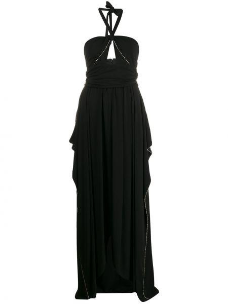 Черное вечернее платье на молнии с вырезом из вискозы Amen.