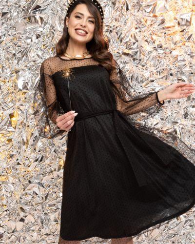 С рукавами трикотажное черное вечернее платье Charutti