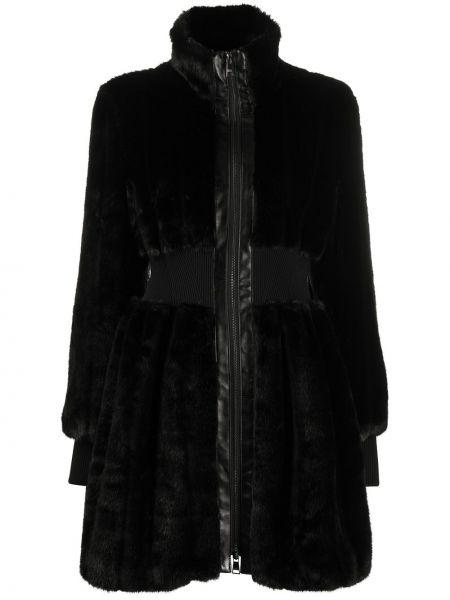 Черная приталенная искусственная шуба на молнии с воротником Karl Lagerfeld