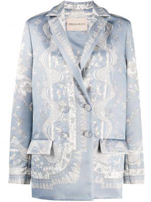 Синее пальто с принтом Emilio Pucci