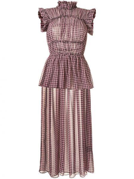Розовое платье миди со вставками с воротником без рукавов Romance Was Born