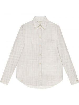Biała koszula oxford bawełniana z długimi rękawami Gucci