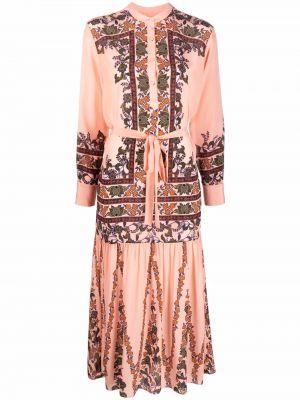 Розовое платье макси с воротником Saloni