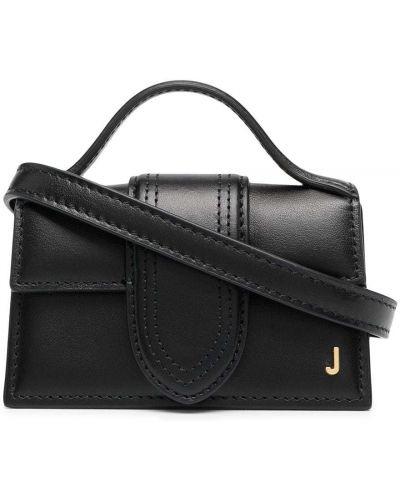 Черная кожаная маленькая сумка круглая Jacquemus