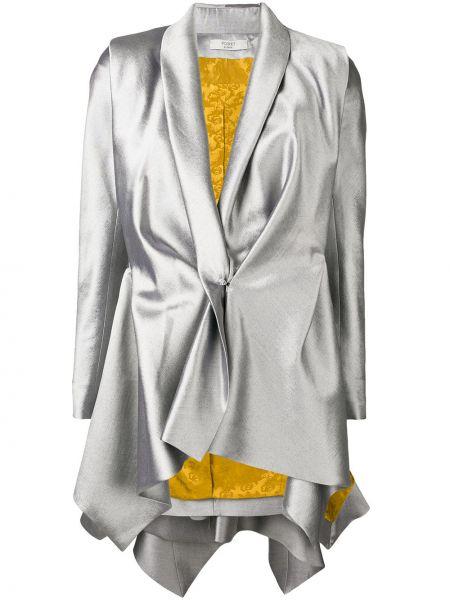 Шерстяной серебряный приталенный пиджак с лацканами Poiret